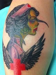 Traditional zombie nurse, so RAD! by Kelly: TattooNOW