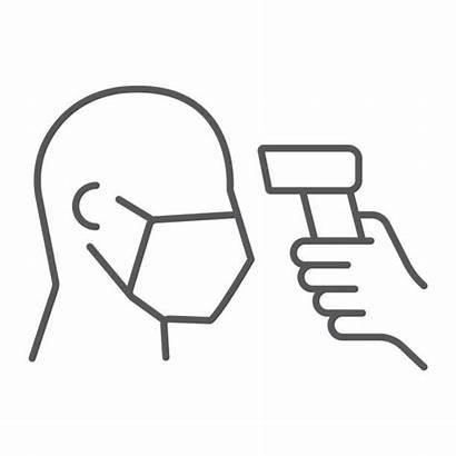 Temperature Covid Icon Checking Coronavirus Thermal Line