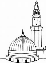 Kaaba Coloring Masjid Nabawi Drawing Outline Template Sketch Coloriages Paint Aime Pas sketch template