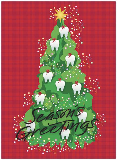 tooth ornaments holiday card dental holiday cards