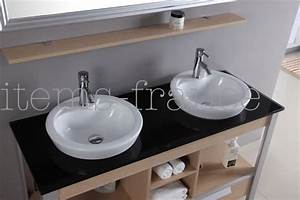 Meuble Vasque Sur Pied : salle de bain meuble motta meuble salle de bain double vasque sur pieds 140x52x82 ~ Teatrodelosmanantiales.com Idées de Décoration