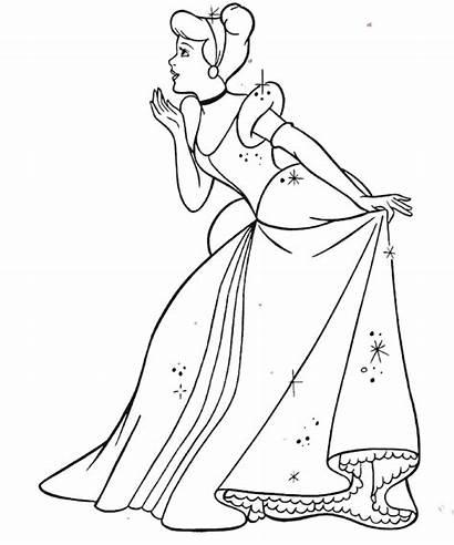 Cinderella Coloring Disney Princess Pages Printable Princesses