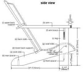 side elevation plan of cape cod aka adirondack chair fusta on the side december