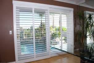 Patio Door Window Treatment Ideas by Clearview Bypass Shutters On A 8 Sliding Glass Door Yelp
