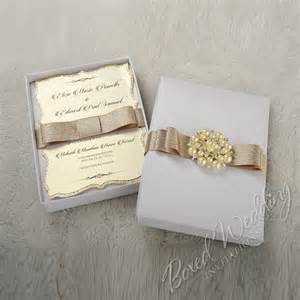 boxed wedding invitations couture wedding invitation box with pearl brooch boxedweddinginvitations