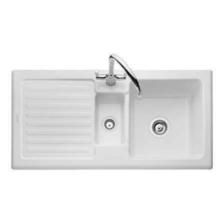 white ceramic 1 5 bowl kitchen sink rangemaster rustic 1 5 bowl white ceramic sink waste kit 2041