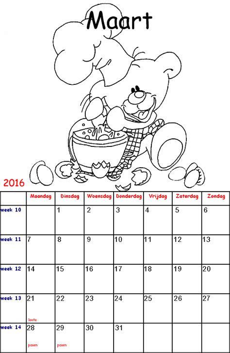 Kleurplaat Kalender Maart diddl kalender kinder kleurplaten