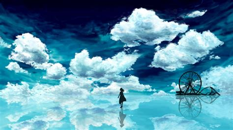 Anime Blue Sky Full Hd Wallpaper And Background Image