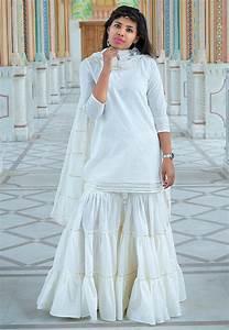 Plain Cotton Pakistani Suit in White : KGPD1  White
