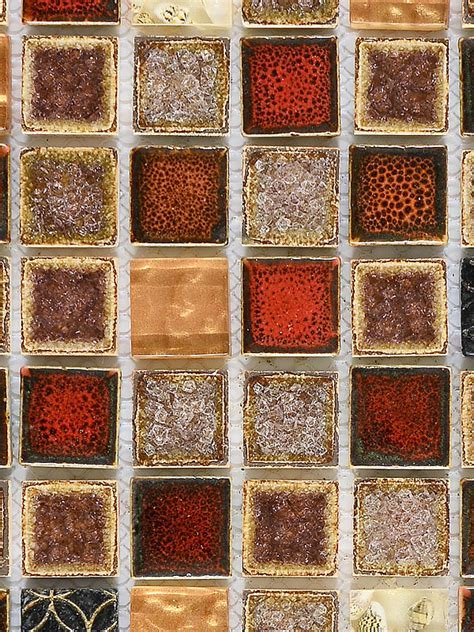 Red Beige Glass Ceramic Backsplash Tile for Kitchen