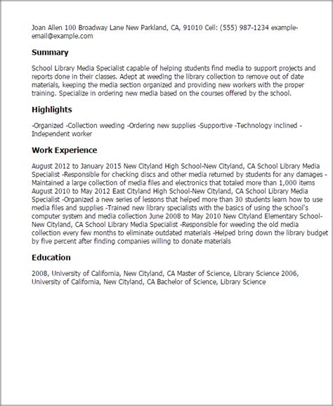 professional school library media specialist templates to