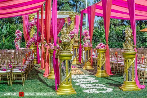 gold canopy indian wedding venue punjabi jain kunal shveta groom