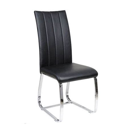 elston dining chair in black faux leather with chrome legs