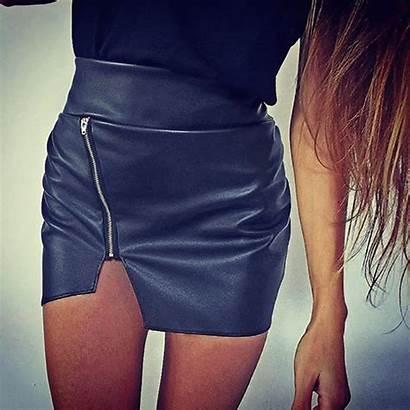 Skirt Leather Split Zip Short Bodycon Faux