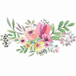 Watercolor Flower Circle Png -