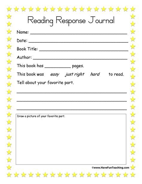 reading journal worksheets reading response journal
