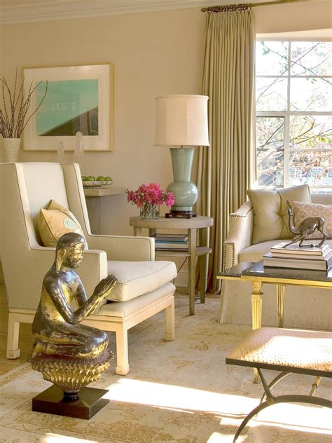 Beige Living Room With Gold Accents HGTV