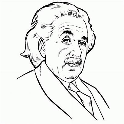 Einstein Albert Coloring History Cartoon Drawing Famous
