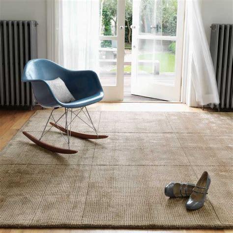 tapis design de salon taupe en laine  viscose