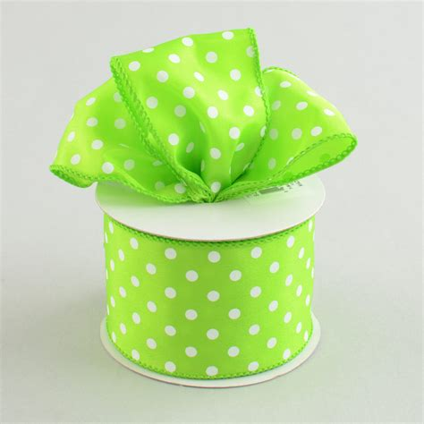 2 5 quot white small polka dot ribbon lime green 10 yards