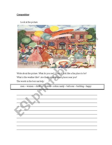 writing composition esl worksheet by azzahs