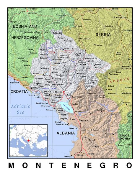 Albania map, croatia map, france map, greece map, italy map, macedonia map, montenegro map, slovenia map, spain map north africa: Detailed political map of Montenegro with relief ...