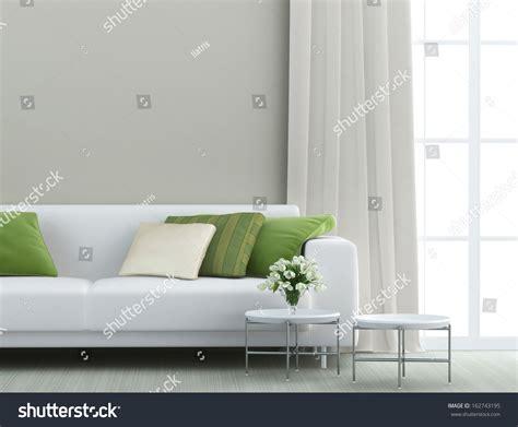 beautiful living room white sofa stock photo