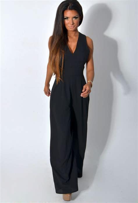 black wide leg jumpsuit tamsin black wide leg crossover crepe jumpsuit pink boutique