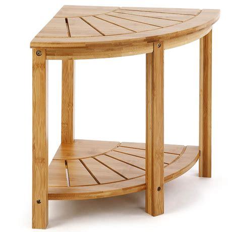 hoyeebright bamboo corner shower bench sturdy waterproof stool  shelf foot stool bathroom