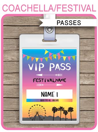 printable coachella party vip passes festival birthday party