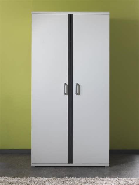 armoire 2 portes contemporaine blanche et grise joss