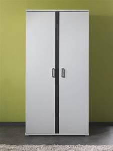 Armoire Dressing Blanche : armoire 2 portes contemporaine blanche et grise joss ~ Premium-room.com Idées de Décoration