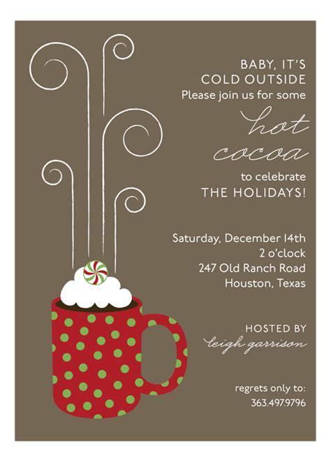 hot cocoa mug invitation hot cocoa holiday party ideas