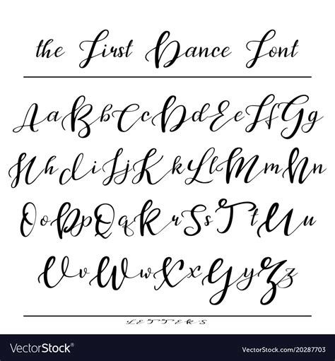handwritten calligraphy font alphabet royalty  vector