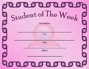Student of the week certificate template student for Student of the week certificate template