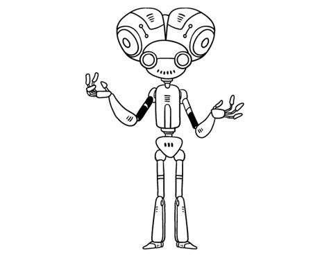 Robot With Big Head Coloring Page