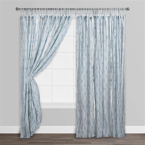 blue kashvi crinkle sheer voile curtains set of 2 cotton