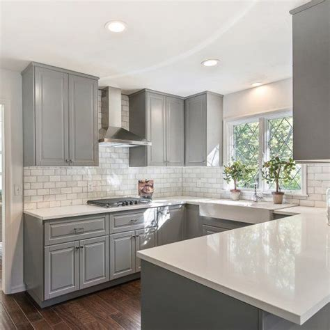 grey and black kitchen cabinets gray shaker cabinets white quartz counter tops grecian 6950