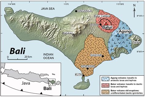 location map  agung  batur volcanoes simplified