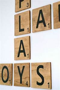 large wood scrabble tile wall decor by bournesouthern on With decorative letter tiles