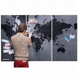 Weltkarte Auf Pinnwand : 3 teilige filz pinnwand memoboard weltkarte mit 90 pins in dunkelgrau schwarz straya pin ~ Markanthonyermac.com Haus und Dekorationen