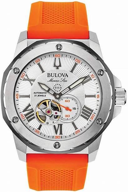 Orange Bulova Automatic Strap 45mm Reloj Silicone