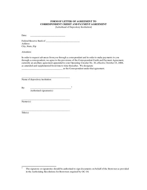 payment agreement letter sample contract template form
