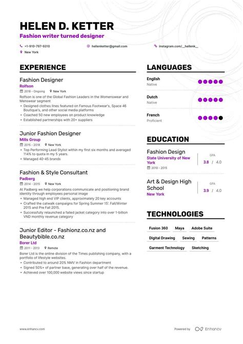 top fashion designer resume examples expert tips