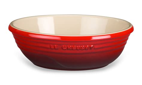 le creuset stoneware oval serving bowl  quart cherry red cutlery