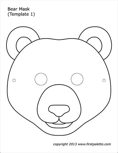 bear masks  printable templates coloring pages