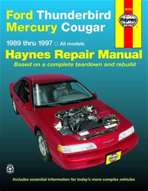 manual repair free 1983 ford thunderbird windshield wipe control ford thunderbird mercury cougar haynes repair manual 1989 1997 hay36086