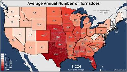 States United Annual Tornadoes State Averages Tornado