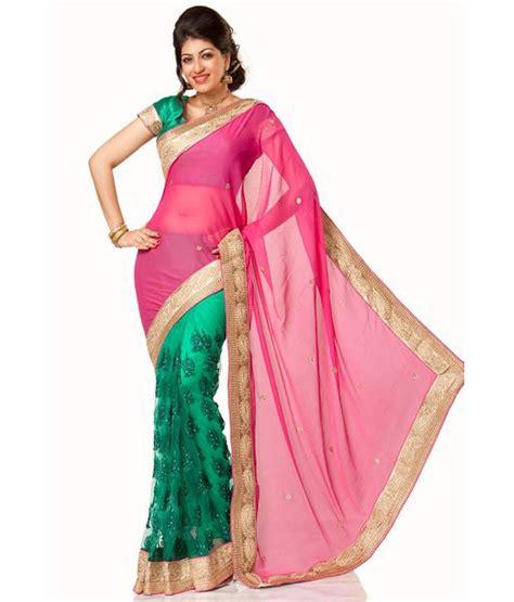 aishwarya design studio aishwarya design studio pink faux chiffon saree buy