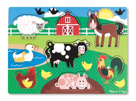 farm peg puzzle  pieces animal toys melissa  doug